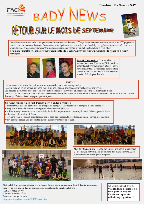 NEWS LETTER OCTOBRE 2017 V4