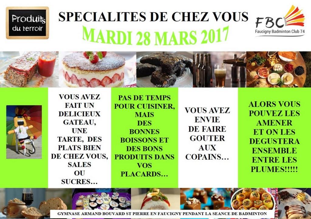 SPECIALITES DE CHEZ VOUS 28 MARS 2017