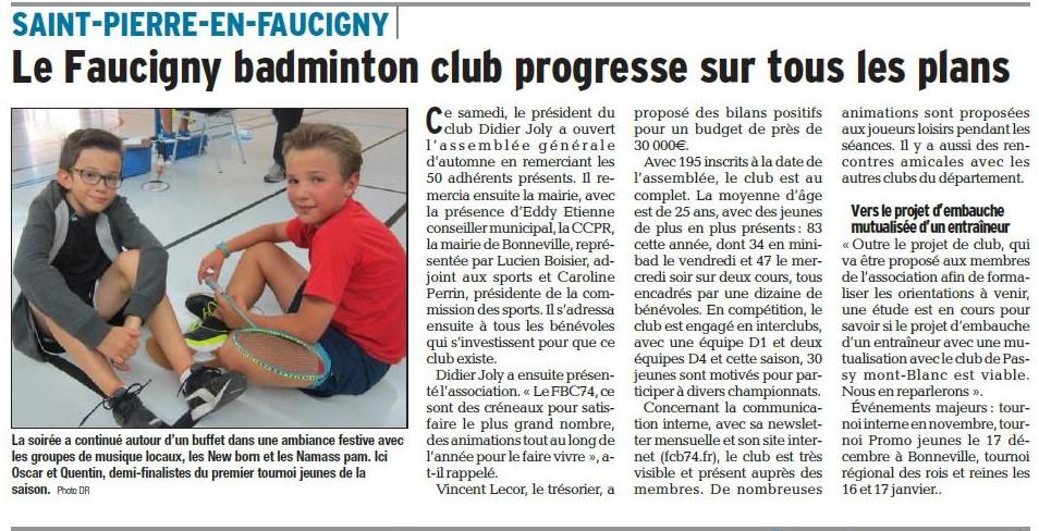 Article Dauphiné Libéré FCB74 17-10-2017