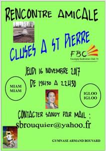 RENCONTRE AMICALE CLUSES A ST PIERRE 16-11-2017