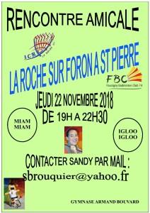 RENCONTRE AMICALE LA ROCHE A ST PIERRE JEUDI 22 NOVEMBRE 2018