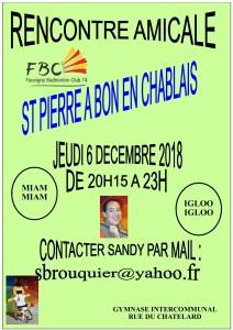 RENCONTRE AMICALE ST PIERRE A BON EN CHABLAIS JEUDI 6 DECEMBRE 2018
