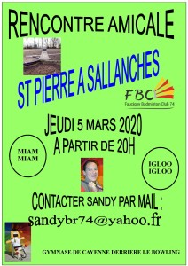 RENCONTRE AMICALE 2020 ST PIERRE A SALLANCHES