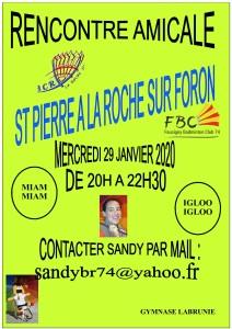 RENCONTRE AMICALE ST PIERRE A LA ROCHE SUR FORON 29 JANVIER 2020