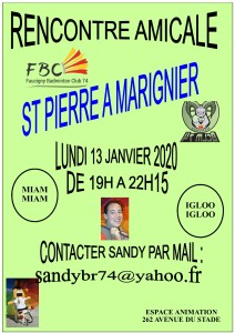 RENCONTRE AMICALE ST PIERRE A MMARIGNIER LUNDI 13 JANVIER 2020